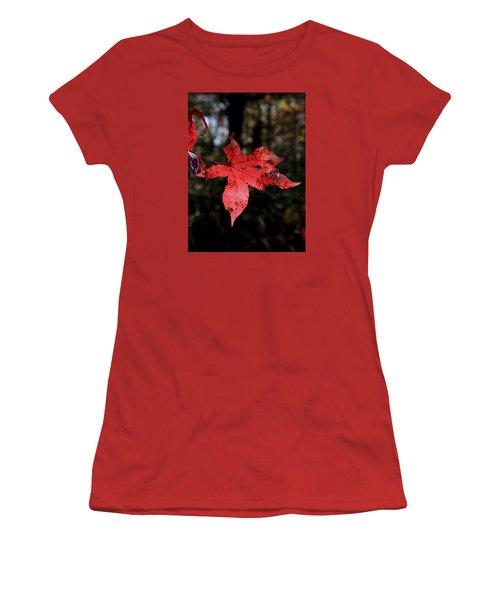 Red Leaf Women's T-Shirt (Junior Cut) by Karen Harrison