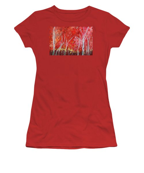 Crimson Leaves Women's T-Shirt (Junior Cut)