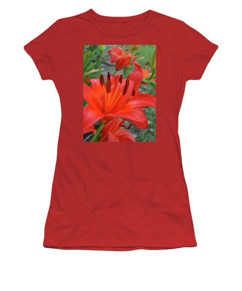 Red Lilies Women's T-Shirt (Junior Cut) by Rebecca Overton