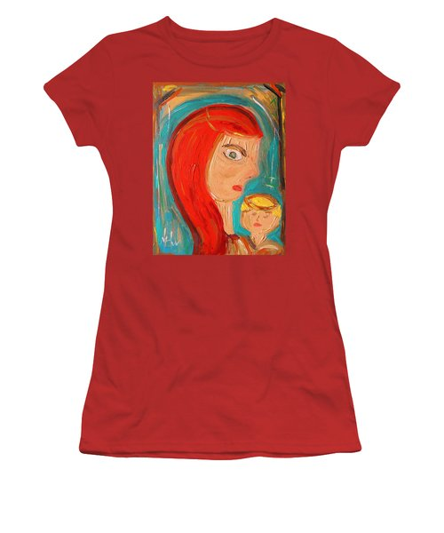 Women's T-Shirt (Junior Cut) featuring the painting Red Madonna by Mary Carol Williams