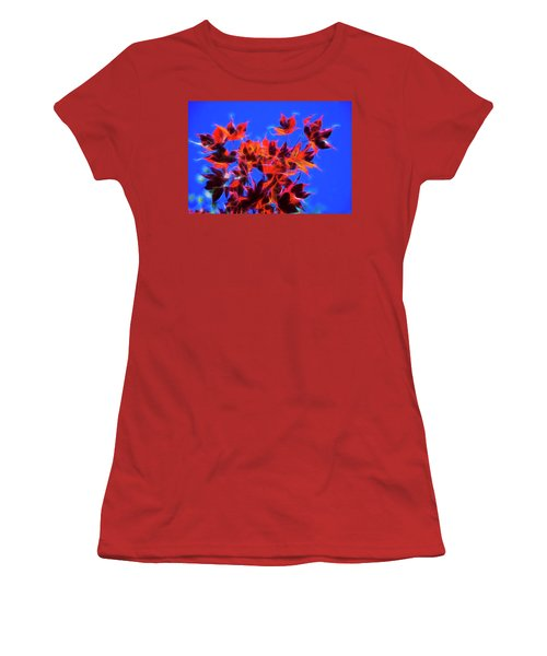 Red Maple Leaves Women's T-Shirt (Junior Cut) by Yulia Kazansky