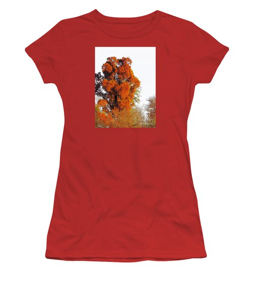 Red-orange Fall Tree Women's T-Shirt (Athletic Fit)