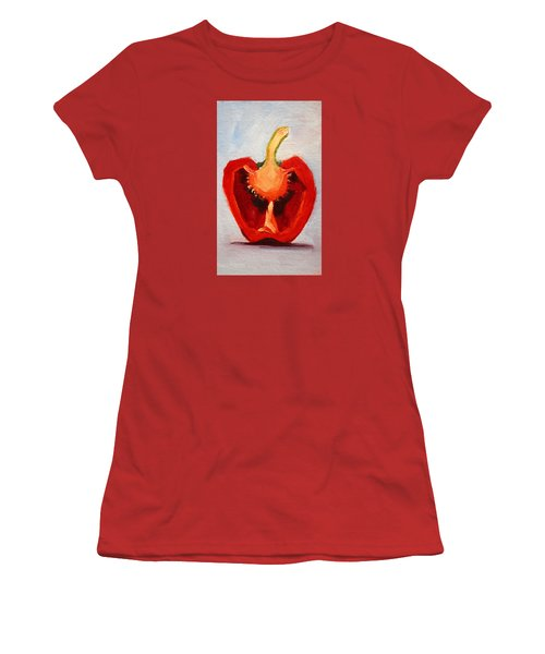 Women's T-Shirt (Junior Cut) featuring the painting Red Pepper Sliced by Nancy Merkle