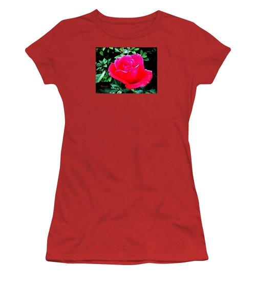 Women's T-Shirt (Junior Cut) featuring the photograph Red-pink Rose by Sadie Reneau