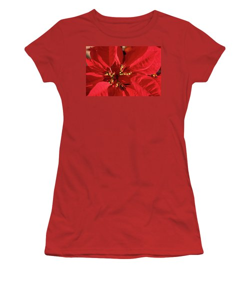 Women's T-Shirt (Junior Cut) featuring the photograph Red Poinsettia Macro by Sally Weigand