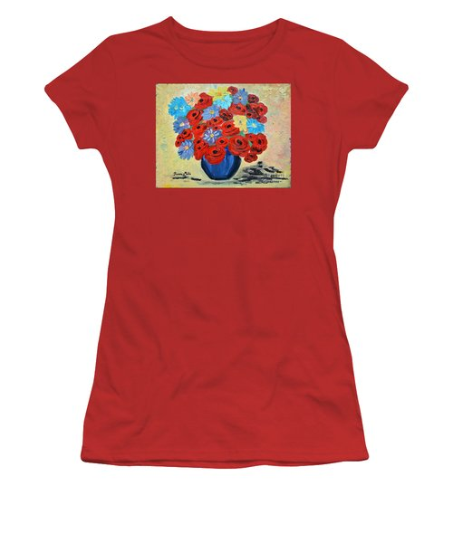 Red Poppies And All Kinds Of Daisies  Women's T-Shirt (Junior Cut) by Ramona Matei