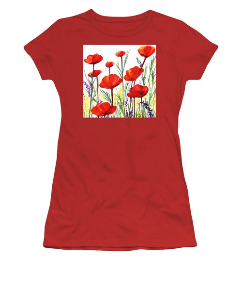 Women's T-Shirt (Junior Cut) featuring the painting Red Poppies Art By Irina Sztukowski by Irina Sztukowski