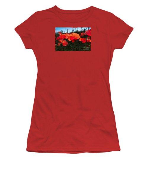 Women's T-Shirt (Junior Cut) featuring the photograph Red Poppy Flowers In Grassland by Jean Bernard Roussilhe