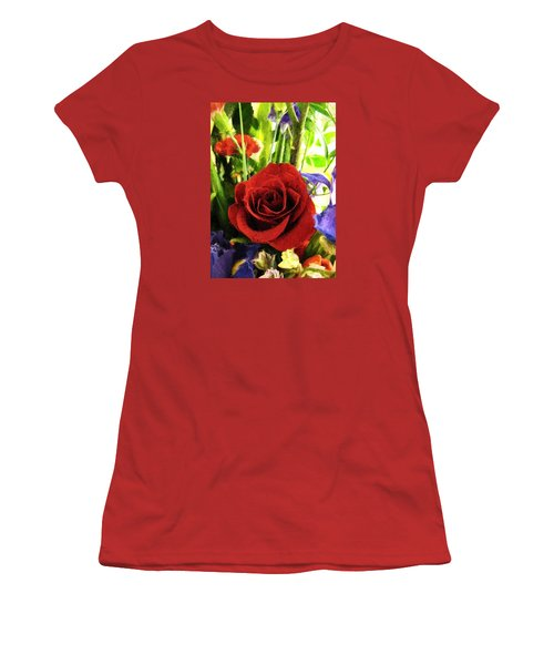 Red Rose And Flowers Women's T-Shirt (Athletic Fit)
