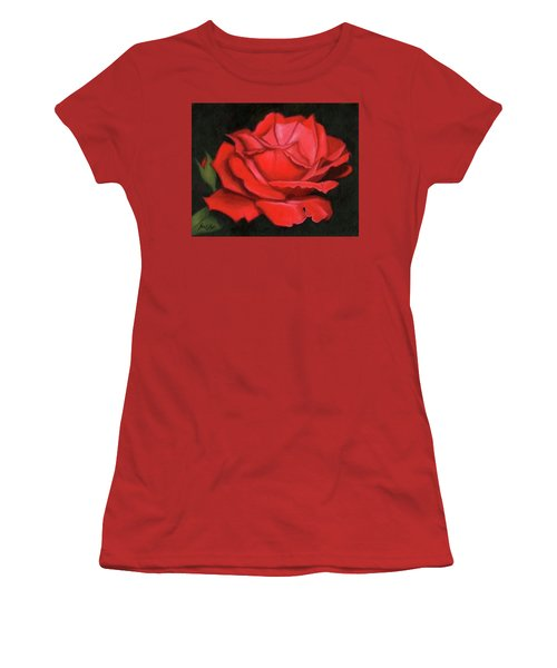 Women's T-Shirt (Junior Cut) featuring the painting Red Rose by Janet King
