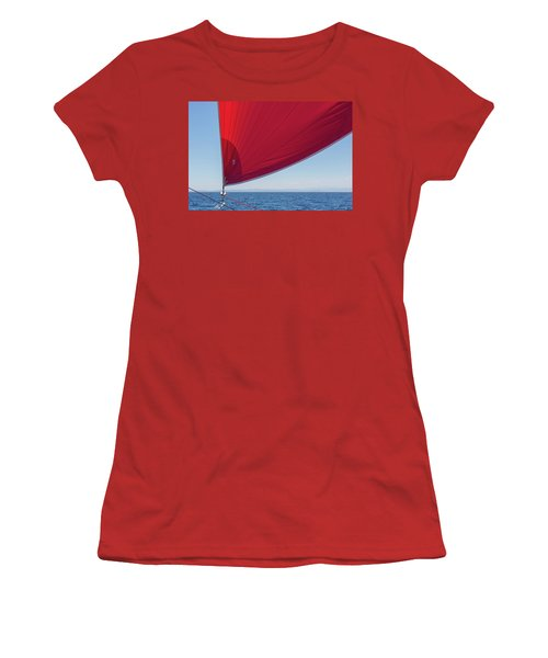 Women's T-Shirt (Athletic Fit) featuring the photograph Red Sail On A Catamaran 2 by Clare Bambers