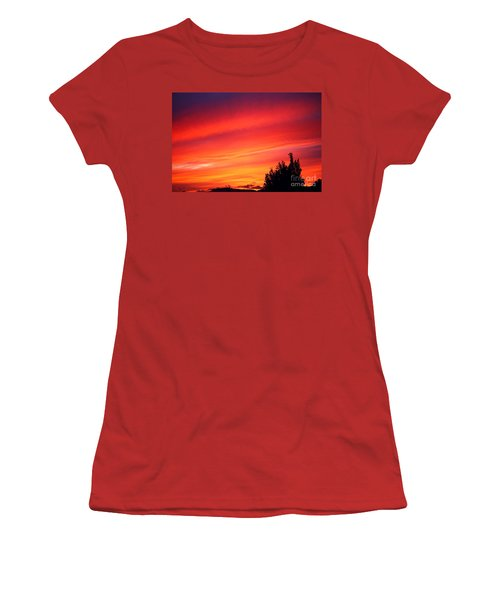 Women's T-Shirt (Junior Cut) featuring the photograph Red Skies At Night  by Nick Gustafson