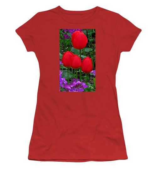 Red Tulips Women's T-Shirt (Junior Cut) by John Topman