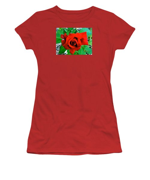Women's T-Shirt (Junior Cut) featuring the photograph Red Velvet Rose by Sadie Reneau