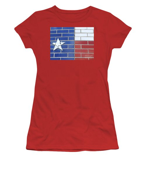 Red White Blue With Star Women's T-Shirt (Junior Cut) by Erick Schmidt