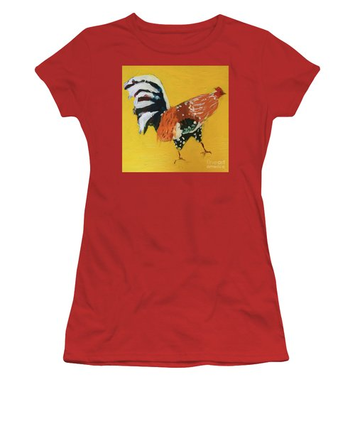 Women's T-Shirt (Athletic Fit) featuring the painting Rooster 2 by Donald J Ryker III