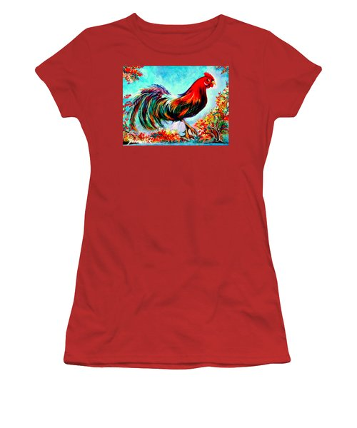 Women's T-Shirt (Junior Cut) featuring the painting Rooster/gallito by Yolanda Rodriguez