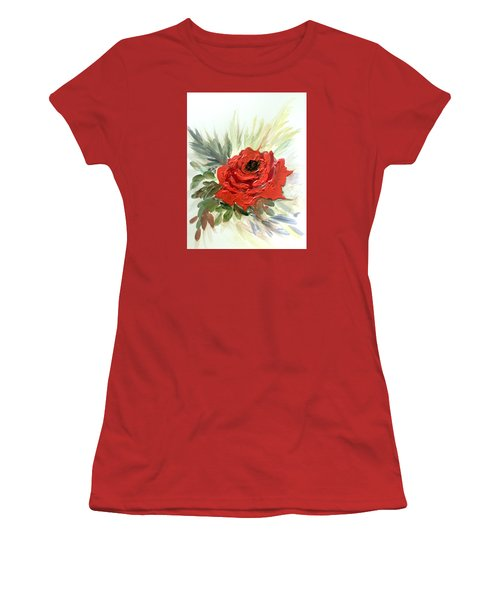 Women's T-Shirt (Junior Cut) featuring the painting Roses Are Red by Dorothy Maier