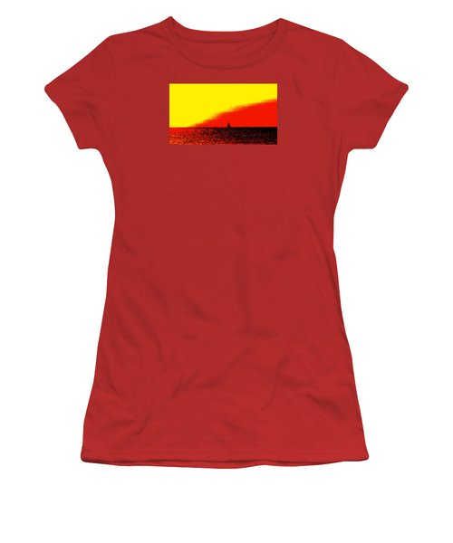 Sailboat Horizon Poster Women's T-Shirt (Athletic Fit)