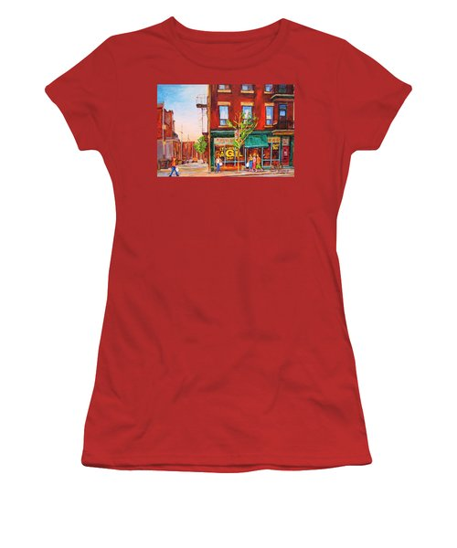Women's T-Shirt (Junior Cut) featuring the painting Saint Viateur Bagel by Carole Spandau
