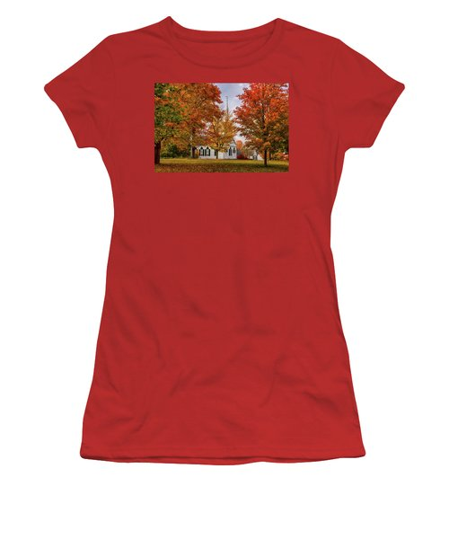 Women's T-Shirt (Athletic Fit) featuring the photograph Salem Church In Autumn by Jeff Folger