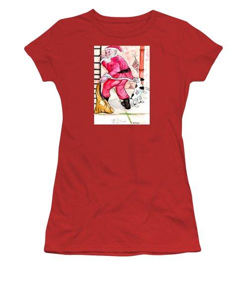 Santa Climbs The Ladder Women's T-Shirt (Junior Cut) by Philip Bracco