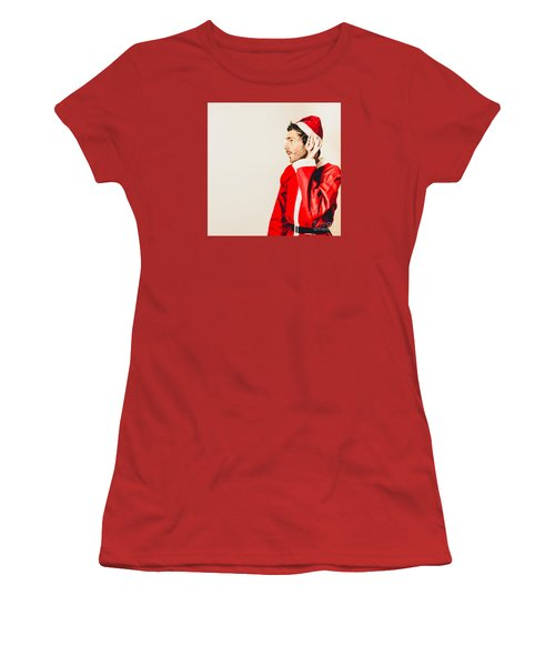 Women's T-Shirt (Athletic Fit) featuring the photograph Santas Little Helper Listening To Christmas Orders by Jorgo Photography - Wall Art Gallery
