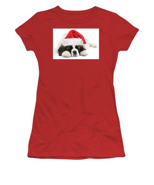 Santa's Snoozing Saint Bernard Women's T-Shirt (Athletic Fit)