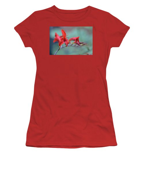 Scarlet Blooms Women's T-Shirt (Junior Cut) by Janet Rockburn