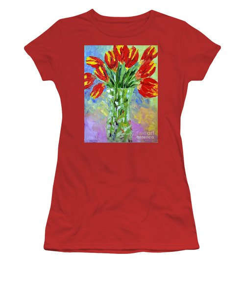 Scarlet Tulips Women's T-Shirt (Athletic Fit)