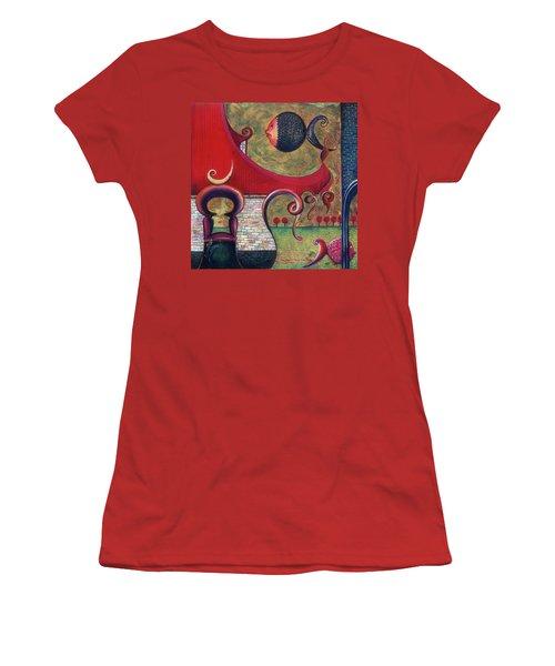 Women's T-Shirt (Junior Cut) featuring the painting Seatime by Anna Ewa Miarczynska
