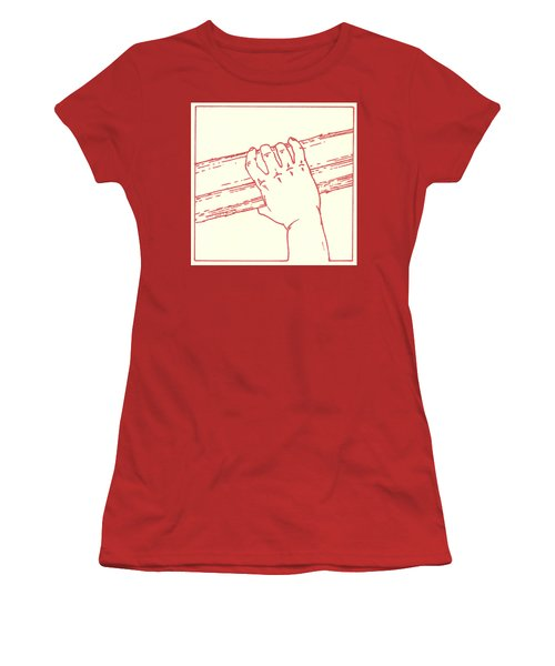 Women's T-Shirt (Athletic Fit) featuring the drawing Second Station- Jesus Is Made To Carry His Cross by William Hart McNichols