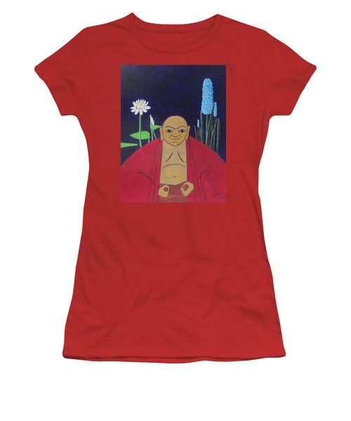 Women's T-Shirt (Junior Cut) featuring the painting Serene Buddha by Hilda and Jose Garrancho