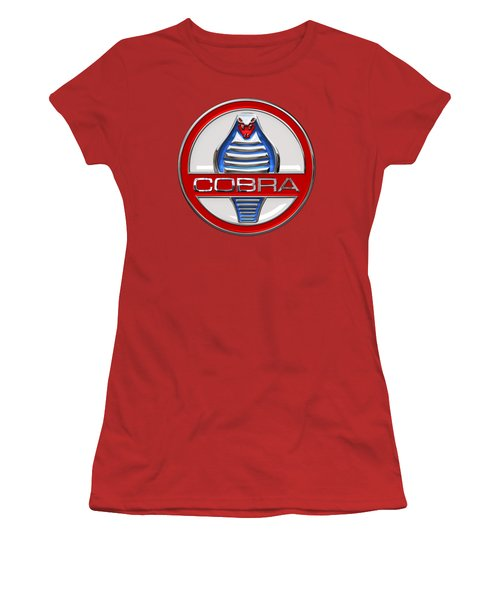 Shelby Ac Cobra - Original 3d Badge On Red Women's T-Shirt (Athletic Fit)