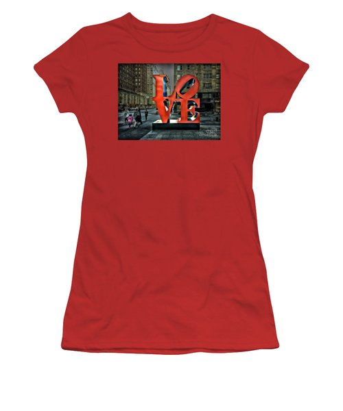 Women's T-Shirt (Junior Cut) featuring the photograph Sights In New York City - Love Statue by Walt Foegelle