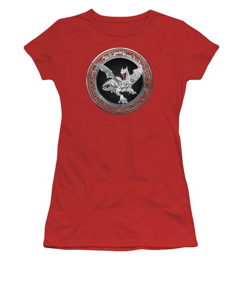 Silver Guardian Dragon Over Red Velvet  Women's T-Shirt (Junior Cut) by Serge Averbukh
