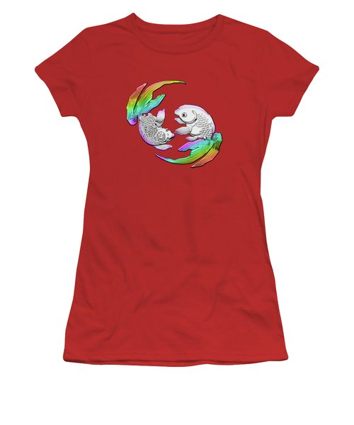 Silver Japanese Koi Goldfish Over Red Canvas Women's T-Shirt (Athletic Fit)