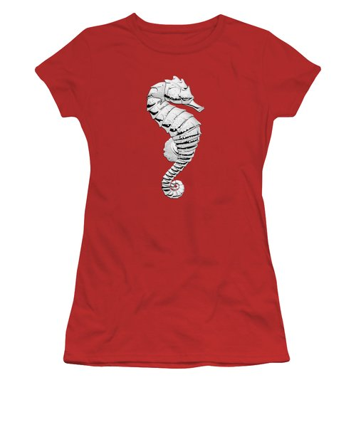 Silver Seahorse On Red Canvas Women's T-Shirt (Junior Cut) by Serge Averbukh
