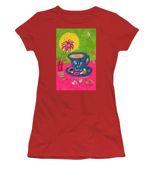 Sip Of Luv Women's T-Shirt (Athletic Fit)