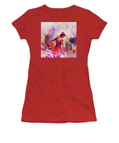 Women's T-Shirt (Junior Cut) featuring the painting Spanish Female Art 0087 by Gull G