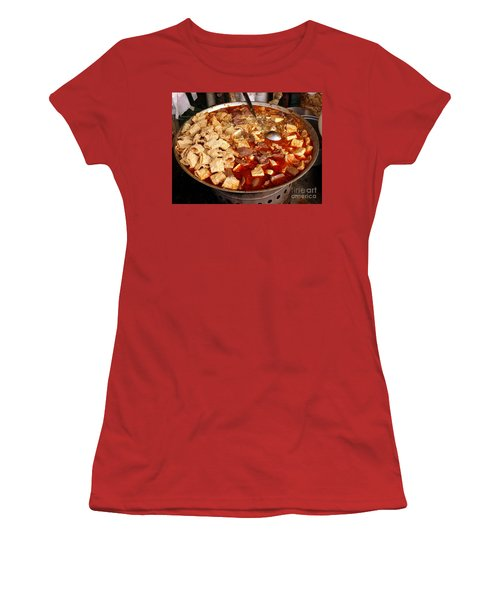 Women's T-Shirt (Junior Cut) featuring the photograph Spicy Tofu Dish With Duck Blood Cakes by Yali Shi
