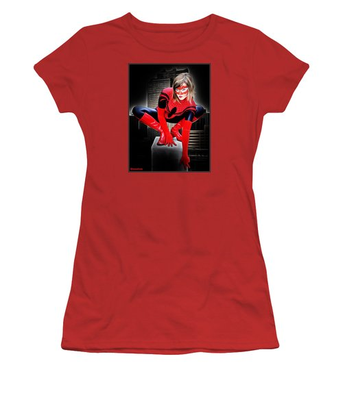 Spiderilla At Night Women's T-Shirt (Junior Cut)