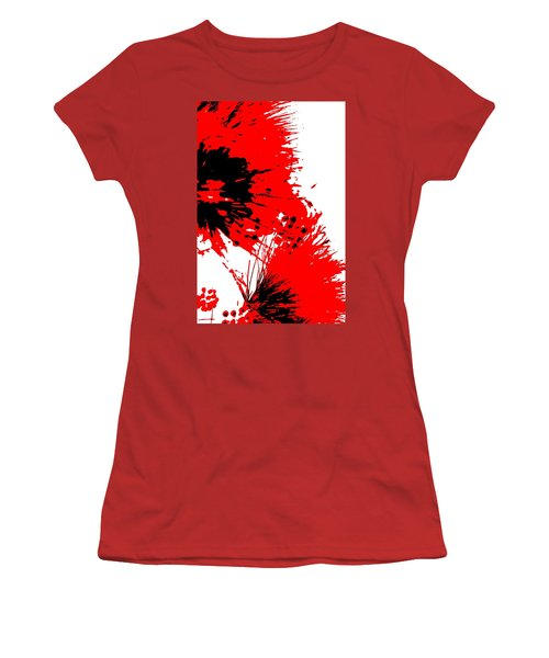Splatter Black White And Red Series Women's T-Shirt (Athletic Fit)