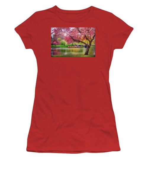 Women's T-Shirt (Junior Cut) featuring the photograph Spring Afternoon In The Boston Public Garden - Boston Swan Boats by Joann Vitali