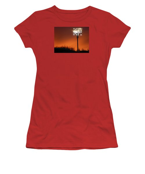 Women's T-Shirt (Junior Cut) featuring the photograph Stadium Lights by RKAB Works