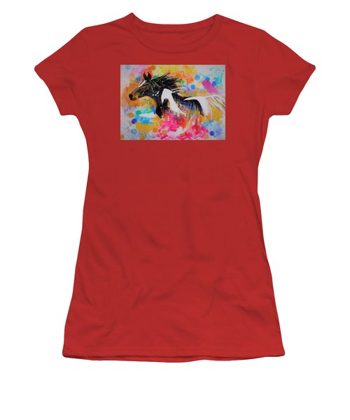 Stallion In Abstract Women's T-Shirt (Junior Cut) by Khalid Saeed