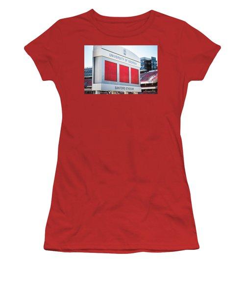 Women's T-Shirt (Junior Cut) featuring the photograph Standing Tall Over Sanford Stadium  by Parker Cunningham