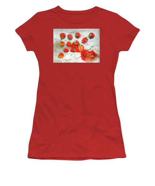 Strawberries On Paper Towel Women's T-Shirt (Athletic Fit)