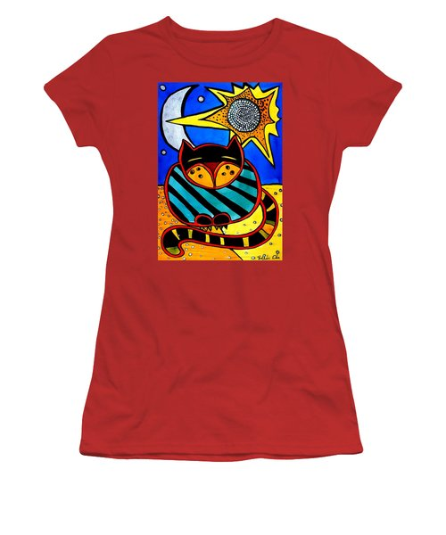 Sun And Moon - Honourable Cat - Art By Dora Hathazi Mendes Women's T-Shirt (Athletic Fit)