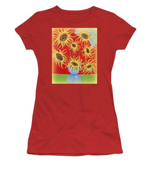 Sunflowers On Red Women's T-Shirt (Junior Cut) by Marie Schwarzer